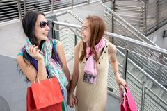 Two beauty women having fun together holding shopping bags with luggage stock images