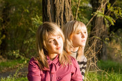 Two beauty young blondes Stock Images