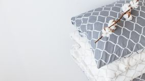 Modern bed linen, in trend, minimalism clean home concept stock photo