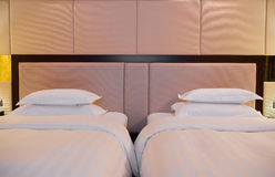 Two beds in hotel room Royalty Free Stock Image