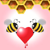 Two Bee Carrying Heart Back To The Honeycomb. Vector Illustration Royalty Free Stock Photos