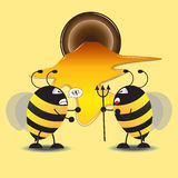 Two Bee Fight For Honey. Vector Illustration Stock Photo