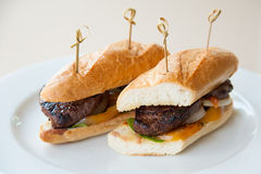 Beef steak sandwich on white plate Stock Photography