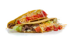 Two beef tacos on white with copy space Stock Image
