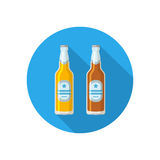 Two beer bottles of different colors on a colorful background. Isolated in a trendy flat style Stock Image