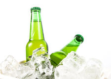 Two beer bottles getting cool Stock Photos