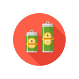 Two beer cans in different colors on a colorful background. vector illustration