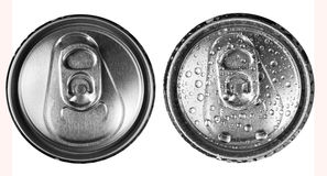 Two beer cans on a white background top view Royalty Free Stock Photo