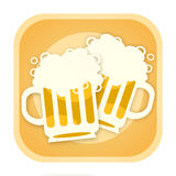 Two beer. Two full beer mugs clinking, pub illustration isolated on white background Royalty Free Stock Photos