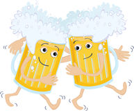 Two beer glass. As drunk friends Stock Image