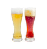 Two beer glass with lager beer and dark beer Stock Images