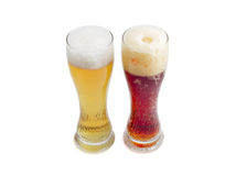 Two beer glass with lager beer and dark beer Royalty Free Stock Photography