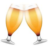Two beer glasses clink. Vector Illustration Royalty Free Stock Image