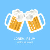 Two beer glasses mug for web, poster, invitation to party. Stock Photography