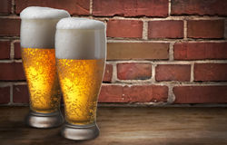 Two beer glasses Royalty Free Stock Images