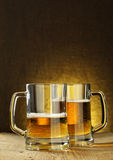 Two beer mugs stock images