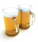 Two beer mugs. Isolated on a white background Royalty Free Stock Photo