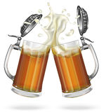 Two beer mugs with beer. Two mugs with cap with ale, light or dark beer. Mug with cap with beer. Vector Stock Images