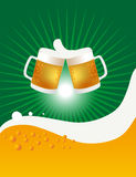 Two Beer Mugs And Cheers. Vector illustration of two beer mugs and cheering those Royalty Free Stock Images