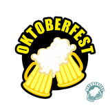 Two beer mugs clink. Symbol of Oktoberfest. Vector logo holiday Stock Images