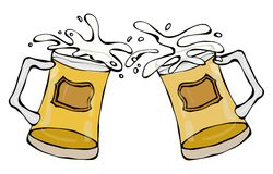 Two Beer Mugs With Light Ale or Lager. Clink with Splash. Isolated On a White Background. Realistic Doodle Cartoon Style Hand Draw. Two Beer Mugs With Light Ale vector illustration