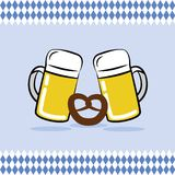 Two beer mugs and pretzel with bavaria flag background vector illustration