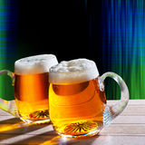 Two beer on the table with modern background Stock Image