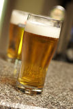 Two beers. Two glass of beer at a bar Royalty Free Stock Photo