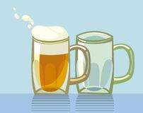 Two beers. Two beer glasses. One glass is full of frothed up beer royalty free illustration