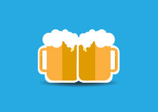 Two beers. With blue background Royalty Free Stock Images