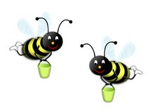Two bees. Two worker bees whit green pail Royalty Free Stock Photos