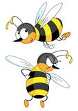 Two bees. Two flying bees - happy and angry vector illustration