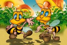 Two Bees. Cartoon Background Illustration, Bitmap royalty free illustration