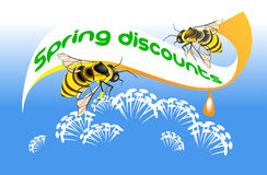 Two bees on the background of poster. Two bees gather honey from the spring flowers on the Stock Image
