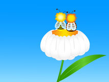 Two bees on flower. Vector drawing of two bees sitting on a camomile flower Royalty Free Stock Photo