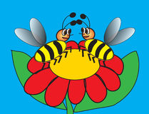 Two bees on flower. Two bees sitting on red flower on blue background, greeting card to St. Valentines day, vector illustration, Illustrator 10 version, RGB stock illustration
