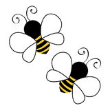 Two bees flying. Background illustration royalty free illustration