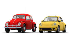Two Beetles. 3D render of Old and New Beetles on white background Royalty Free Stock Photos