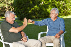 Two befriended senior men greeting. Each other with a youthful gesture royalty free stock image