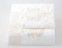 Two beige lace towel Stock Photos