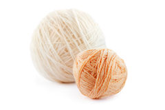 Two beige wool clews Stock Images