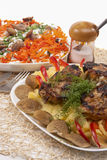 Two belarussian national meals including grilled meat with mash Stock Photo