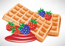 Two belgian waffles with berry. Illustration royalty free illustration