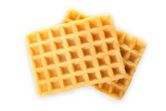 Two Belgian waffles. Isolated on white. Top view Stock Photography
