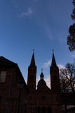 Two bell tower at church. Seligenstadt Rhein Royalty Free Stock Image