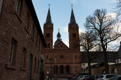 Two bell tower at church #3. Seligestadt Rhein Main Royalty Free Stock Photos