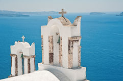 Two bell towers of Oia, Santorini, Greece Royalty Free Stock Image