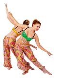 Two belly dancers Stock Photos