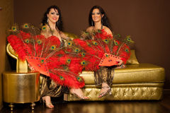 Two belly dancers preforming on stage Royalty Free Stock Images