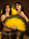 Two belly dancers preforming on stage Royalty Free Stock Photography